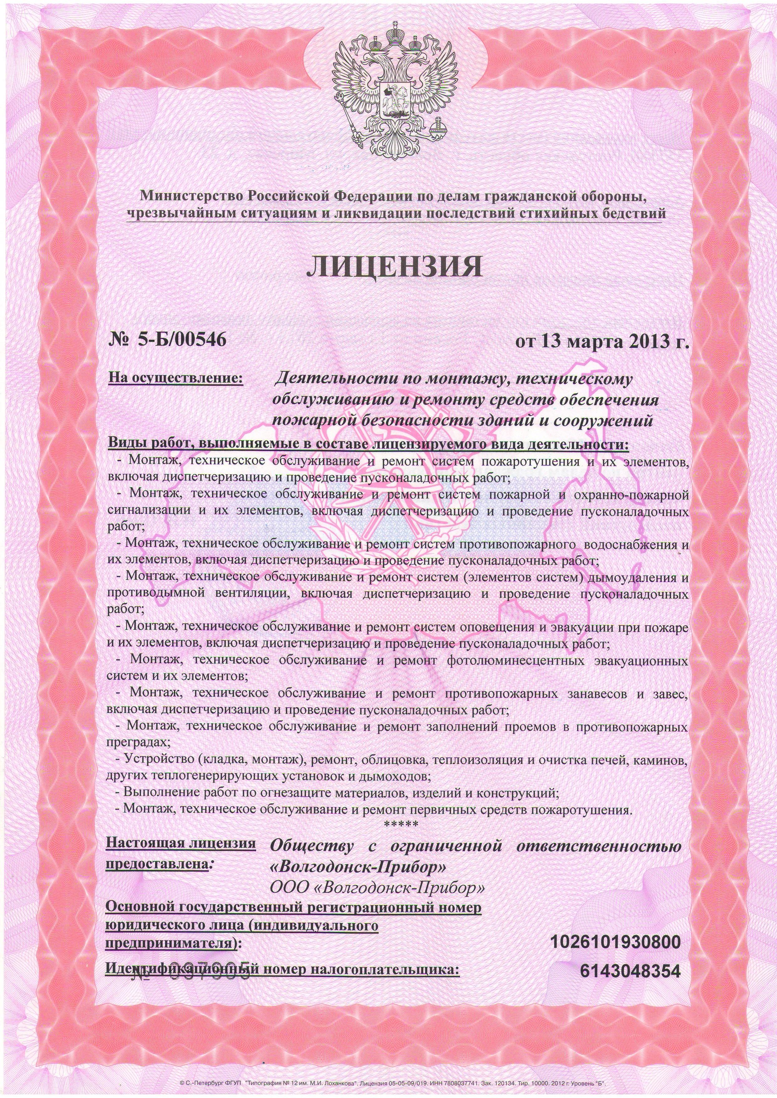 1 страница образца лицензии МЧС