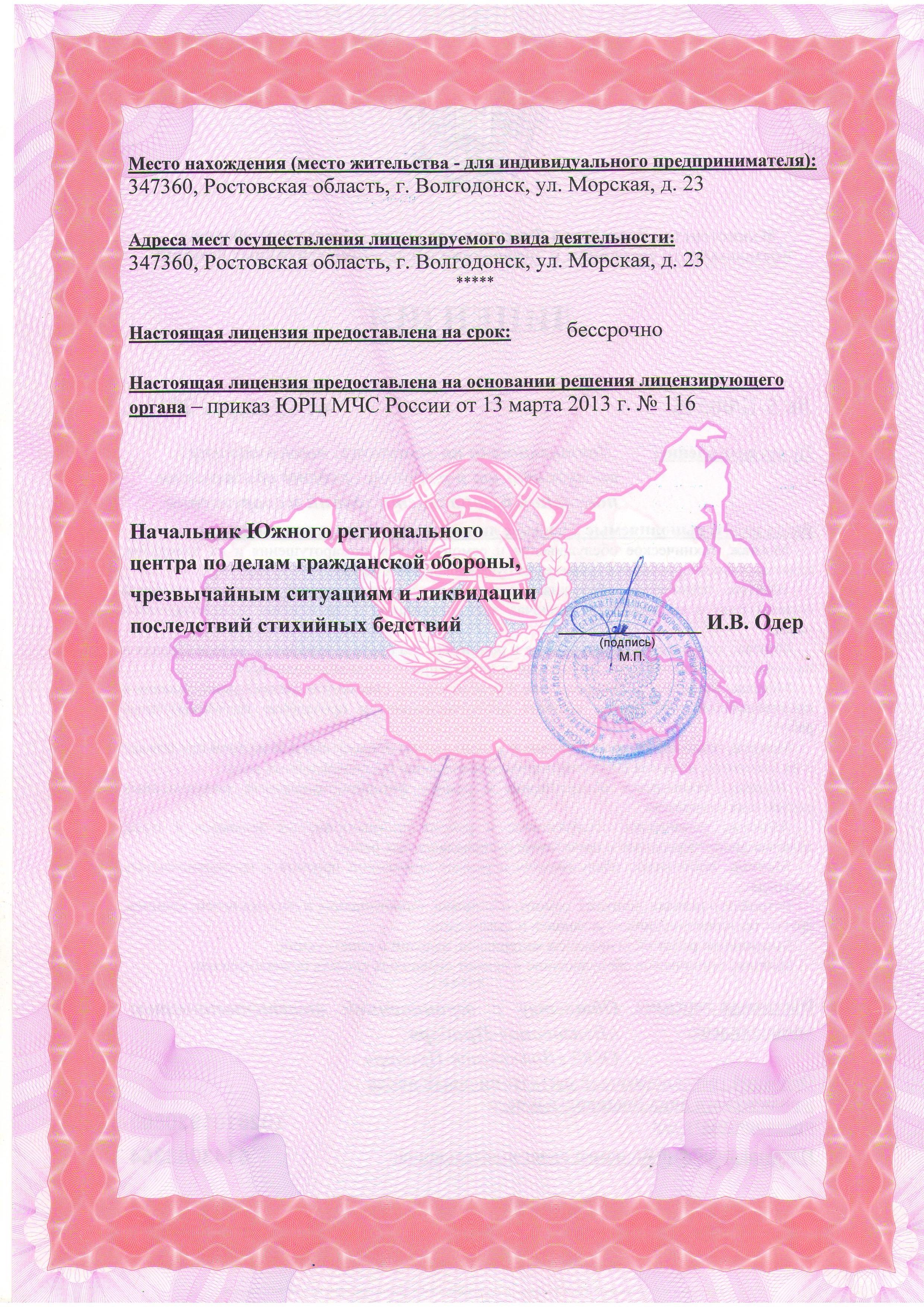 2 страница образца лицензии МЧС